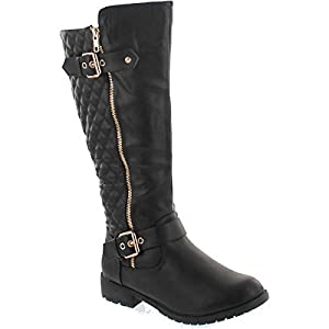 Top Moda Women's Bally-32 Knee High Quilted Leather Riding Boot (10, Black)