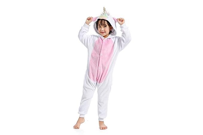 Hycomell Unicornio Pijamas de una Pieza Unisexo Adulto Niños Tela de Franela Estilo de Dibujos Animados