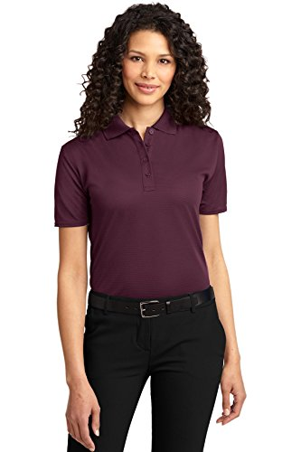 Port Authority Women's Dry Zone Ottoman Polo L Maroon