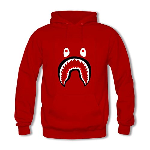 Bape Shark Red Pullover Hooded Sweatshirt Men Large hoodies