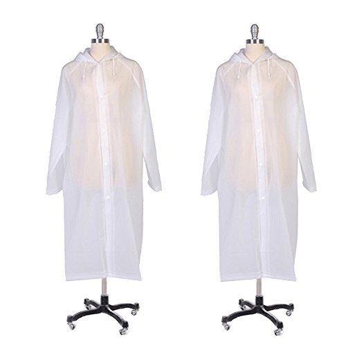 2pcs Adultes EVA Impermables Transparent Rutilisable  Capuche Raincoat pour Trekking Plein Air Poncho Extrieur Rainwear