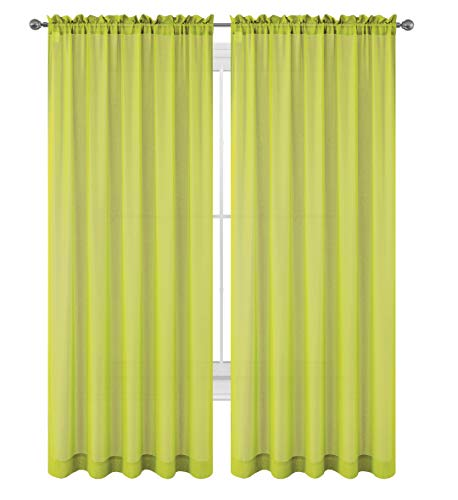 Drape/Panels/Scarves/Treatment Beautiful Sheer Voile Window Elegance Curtains Scarf for Bedroom & Kitchen Fully Stitched and Hemmed, Set of 2 Lime Green (Lime Green, 84