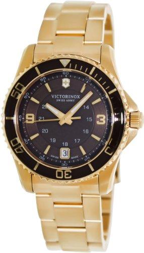 Victorinox 241614 Women's 'Maverick' PVD Watch, Gold Stainless Steel Band, (Dial Pvd Bezel)