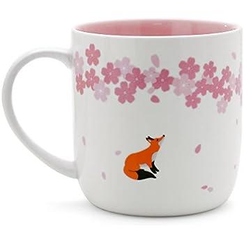 Teagas Elegant Pink Cherry Blossom Fox Ceramic Fox Coffee Mug Cup, Gift for Friend Teacher Cousin