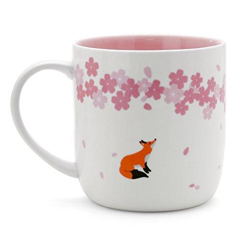 Teagas Elegant Pink Cherry Blossom Fox Ceramic Fox Coffee Mug Cup, Gift for Friend Teacher (Blossom Pink Cup)