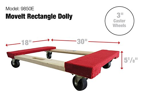Move It 9850 Carpeted Solid Wood Moving Dolly 20 Inch X