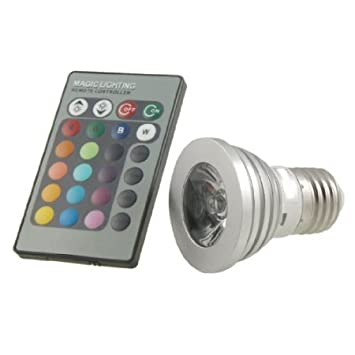 Amazon.com : Bombilla E27 control remoto Base 3W Multi color de la l?mpara de luz LED de la CA 85V-265V : Beauty