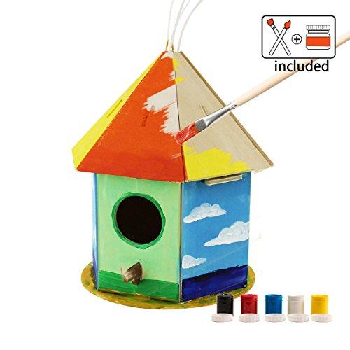 ROBOTIME 3D Hölzernes Puzzle - Vogelhaus Mit Malerei Werkzeuge Kind Pädagogisches Woodcraft Puzzlespiel-Spielzeug DIY Installationssatz