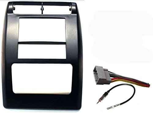 (Aftermarket Double Din Radio Stereo Car Install Dash Kit Flat Black - Complete with Wire Harness and Antenna Adapter Fitted For Jeep Wrangler 2003-2006)