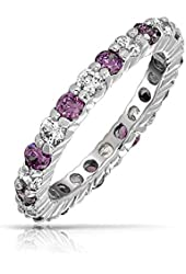 Bling Jewelry Clear and Simulated Amethyst CZ Eternity Ring 925 Silver