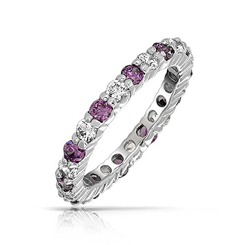 Cubic Zirconia Purple White Alternating Stackable CZ Eternity Ring Simulated Amethyst Sterling Silver February Month