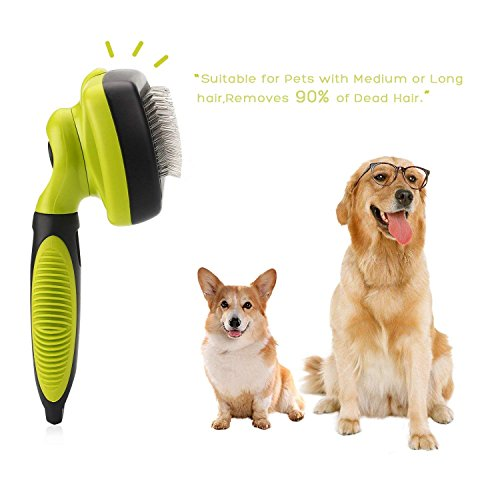 Dog Brush Cat Pet Grooming Brush Comb Self Cleaning Slicker Brush Reduces Shedding Up to 90% Removes Tangles De Sheds for Long Medium & Thick Hair Pet Green and Black by Pecute (Image #8)