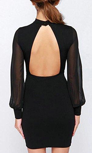 Mesh Bodycon Short Long Classic Womens Sleeve Backless Cromoncent Black Dresses qCEpH4wxW