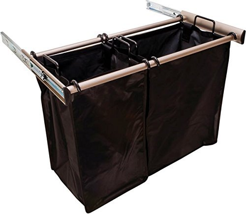 Hafele Laundry Hamper - Pull-Out Double Hamper - 30 Inch Matte Nickel