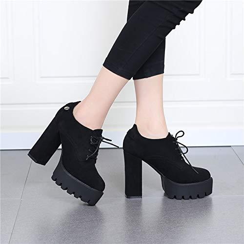 platform shoes round waterproof shoe women's thick single 12cm high head tie deep heel LBTSQ Fashionable bottom eight shoes rough Thirty RgYqWT7c