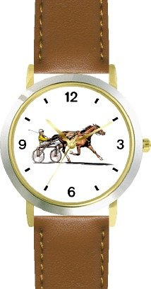 Sulky Horse or Standardbred Racehorse Horse - WATCHBUDDY DELUXE TWO-TONE THEME WATCH - Arabic Numbers - Brown Leather Strap-Size-Large ( Men's Size or Jumbo Women's Size ) ()