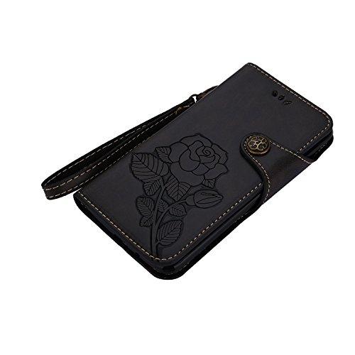 Funda LG K8 2017, CaseLover Folio Cartera Piel PU Carcasa para LG K8 2017 Libro Cuero Tapa con Cierre Magnético, Soporte Plegable, Billetera y Tarjeta Ranura Cubierta Leather Caja - Naranja Negro