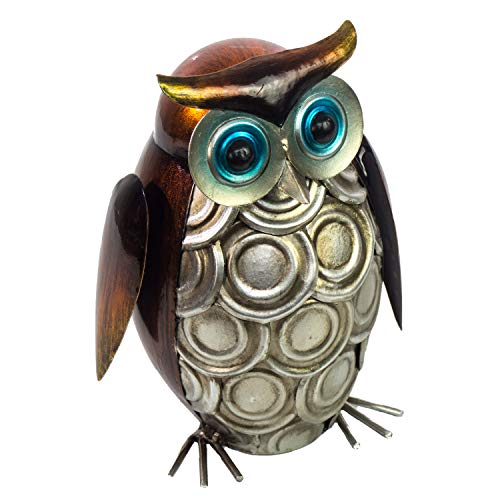 "Owl Decoration - 3D Metal Design - Hand-Painted - 7"" High x 4"" Round - Rustic Home Decor - Indoor or Outdoor Use – Table Ornament in Contemporary Farmhouse Style"