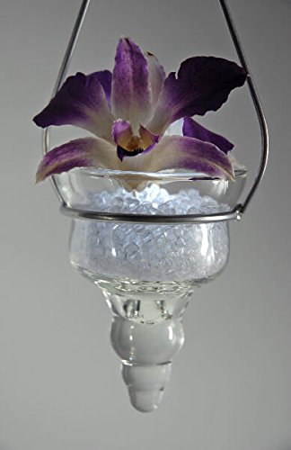 Glass Cone Hanging Candle Holder - Glass Flower Cone