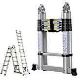 16.5FT Aluminum Telescoping Extension Ladder 330lbs Max Capacity A-Frame Lightweight Portable Multi-Purpose Folding with…