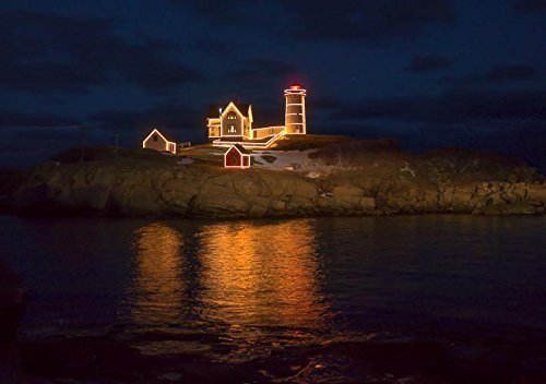 10x7-matted-to-11x14-christmas-at-the-nubble-lighthouse-york-maine-photograph