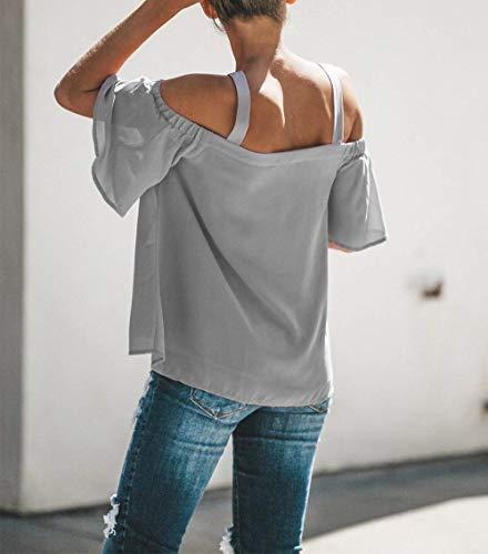 Mousseline V Large Blouse Shirts Fashion Elgante Cou Courtes Bretelles Femme Sangle Tops Manches Uni Dame breal Dsinvolte Manche Grau sans Et Haut AtqwUCg