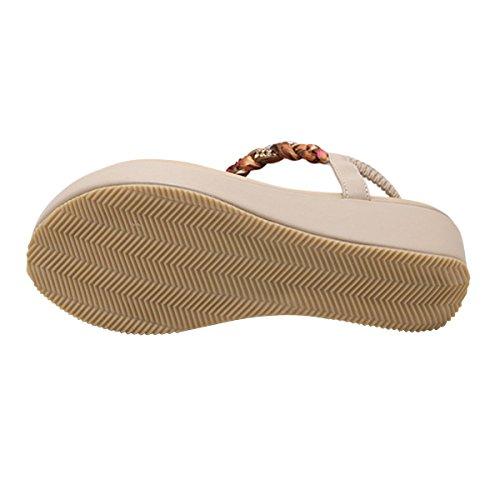 LUXINYU Women's Bohemian Platform Sandals Rhinestone Bead Wedge Shoes Thong Sandal Apricot US 7.5 by LUXINYU (Image #2)