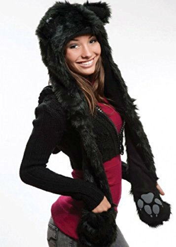 Black Cat Anime Faux Animal Hood Hoods Spirit Paws Ears Mittens Gloves Scarf -