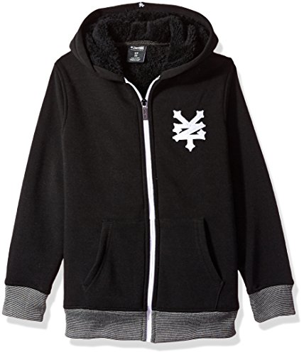 Zoo York Boys' Big Hoodie with Sherpa Lining, Cracker Core Black, Large (14/16)