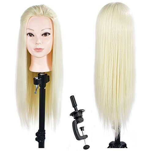 26''-28'' Mannequin Head Cosmetology Hair Styling Design Training Head Hairdresser Manikin Doll Head Synthetic Hair with Free Clamp