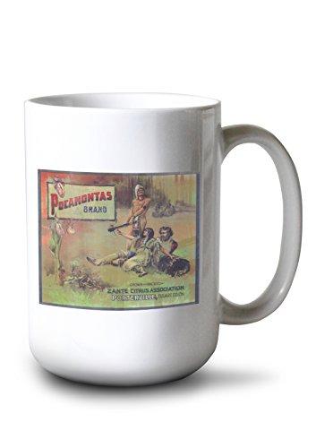(Lantern Press Pocahontas Orange Label (15oz White Ceramic Mug))