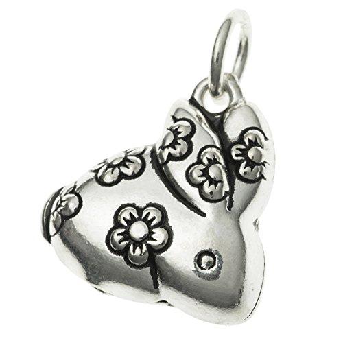 Antique .925 Sterling Silver Chinese Zodiac Year Animal Rabbit Dangle Charm Pendant (Charm Zodiac Rabbit)