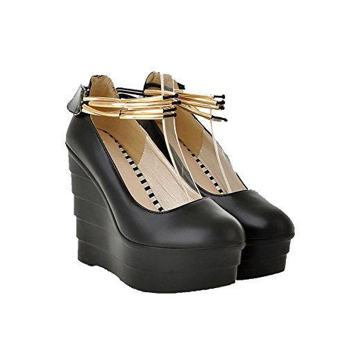 VogueZone009 Women's Round Closed Toe Hook-and-Loop PU Solid High-Heels Pumps-Shoes Black GpM6AAMeBl
