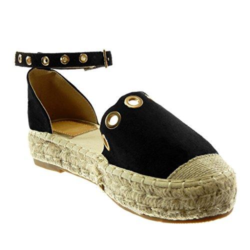 Corda cm con 3 Espadrillas Scarpe Cinturino Zeppe nero Sandali Perforato d'oro alla Donna Caviglia Tacco Blocco Moda Angkorly 5 a qUw7XSq