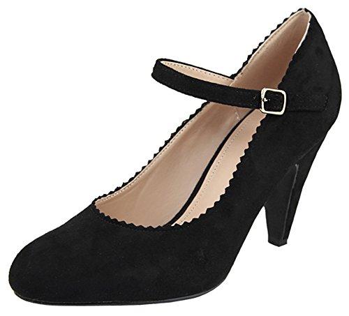 Bella Marie Donna Mary Jane Cinturino Alla Caviglia Smerlato Con Tacco Medio Nero Imsu