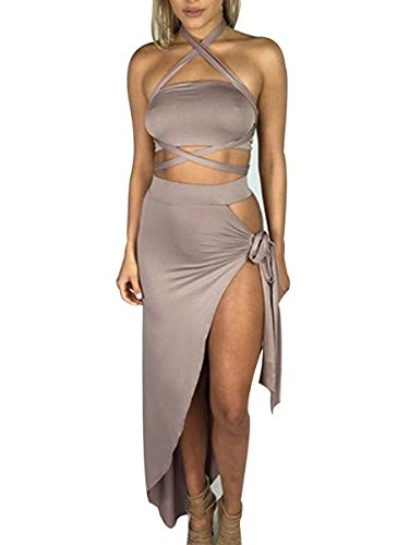 Glamaker Women's Party Clubwear 2 Piece Sexy Outfits Bodycorn Mini Bandage Crop Dresses Set M 4/6 Khaki
