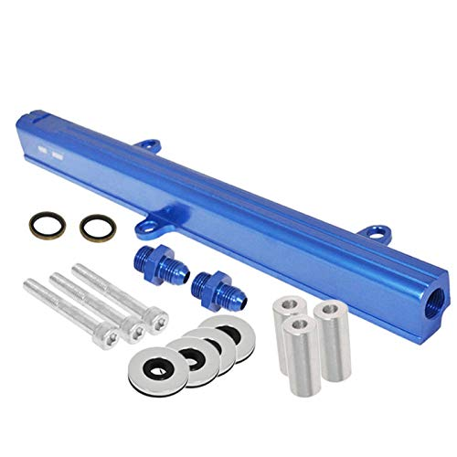 Fit 1989-1994 Nissan 240SX S13 (SR20DET Engines Only) Aluminum Top Feed Fuel Injector Rail Blue with Silver Fittings