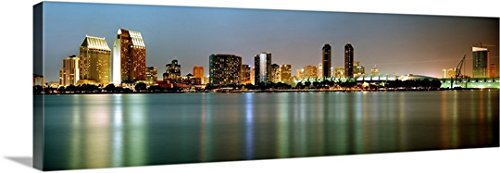 Canvas On Demand Premium Thick-Wrap Canvas Wall Art Print entitled City skyline at night San Diego California (Outdoor Furniture San Diego California)