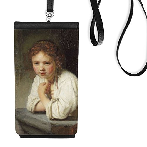 Maid Rembrandt Harmenszoon van Rijn Famous Oil Panintings Oils Faux Leather Smartphone Hanging Purse Black Phone Wallet