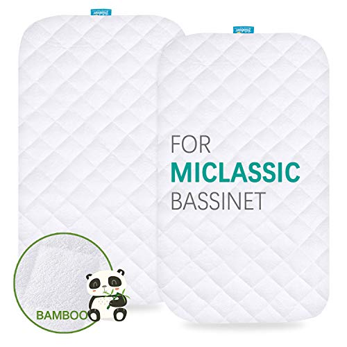 Waterproof Bassinet Mattress Pad Cover Compatible with MiClassic 2in1 Stationary&Rock Bassinet, 2 Pack, Ultra Soft Bamboo Sleep Surface, Breathable and Easy Care (Pad Bassinet Waterproof Mattress)