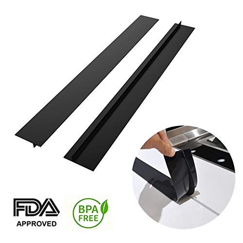 Kitchen Silicone Stove Counter Gap Cover, Kitchen Stove Gap Filler Cover & Spill Guard for Stove 2 Pack Standard 21 inchs by DEORSHIMEN- Black (BLACK)