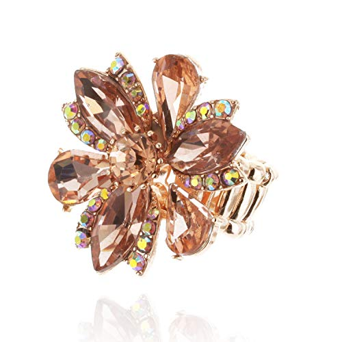 (SP Sophia Collection Five Petal Flower Stretch Adjustable Ring Embellished with Round Marquise and Tear Drops in Peach)