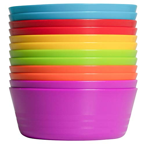 Klickpick Home Kids Colorful Bowl Set Of 12 Bowls- Microwave Dishwasher Safe Unbreakable Material- Assorted 6 Colors