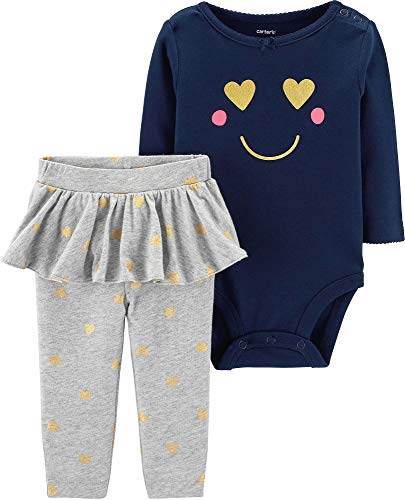 (Carter's Baby Girls' 2-Piece Bodysuit and Tutu Pant Set (Navy/Grey/Smiley, 3 Months))