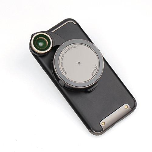 Ztylus 4-in-1 Gunmetal Revolver Lens Smartphone Camera Kit for iPhone 7/8: Super Wide Angle, Macro, Fisheye, CPL, Protective Case, Phone Camera, Photo Video