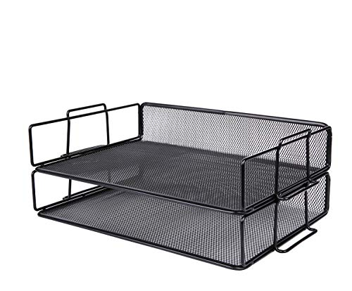 (Exerz Letter Tray Desk Organizer 2 Tier Stackable - Wire Mesh Paper Sorter 2pcs Pack/Desk Multifunctional Organizer/File Holder for Office, School, Study, Space Saver (EX62005 Black) )