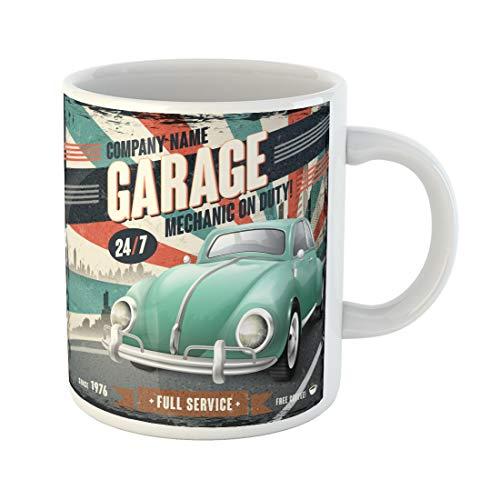 Semtomn Funny Coffee Mug Retro Vintage Custom Car America American Antique Green Classic 11 Oz Ceramic Coffee Mugs Tea Cup Best Gift Or Souvenir -