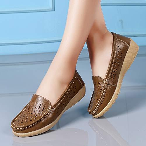 chaussures Bateau Kaki AirCreuxRespirantsConfortablesChaussures De Compensées Pour Sport FemmesFond Zahuihuim SouplePoisPlein c345AjLRq