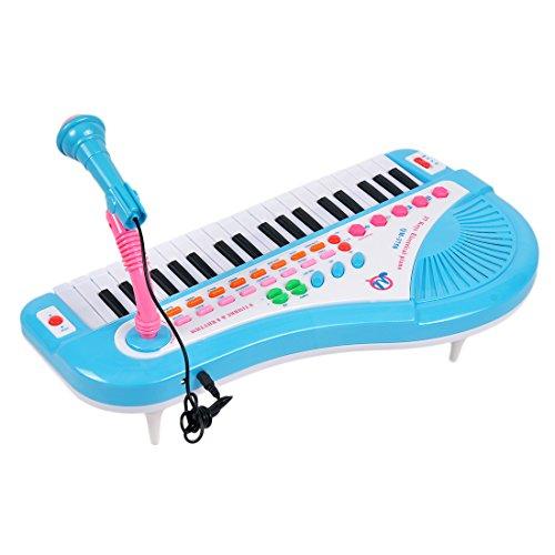 Keyboard Piano, YIFAN 37-Key Multi-function Electronic Organ Keyboard Piano with Microphone Kids Children Educational Toy – Blue
