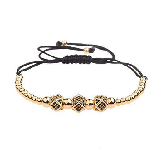 Hebel New Luxury Micro Pave CZ Ball Crown Charm Bracelet Mens Copper Bead Bracelets | Model BRCLT - 32659 | ()